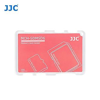 JJC Mini Memory Card Holder for 2 x SD, SDHC, SDXC Cards + 4 x microSD/SDHC/SDXC Cards (Red)