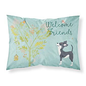 Welcome Friends Black White Chihuahua Fabric Standard Pillowcase