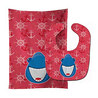 Carolines Treasures  BB6945STBU Shark Wide Open Baby Bib & Burp Cloth