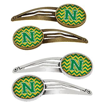 Letter N Chevron Green and Gold Set of 4 Barrettes Hair Clips