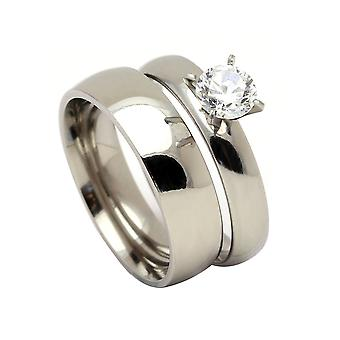 Sabrina Beautiful 2pcs Stainless Steel Engagement Wedding Ring and Band Set - Ginger Lyne Collection