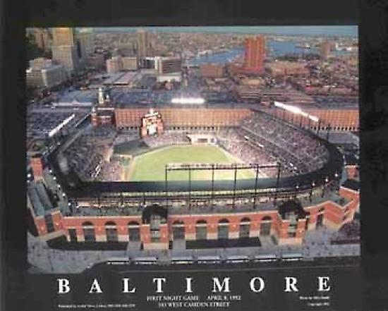 Baltimore Maryland - Camden Yards (Nigh Poster Print by Mike Smith (28 x 22)