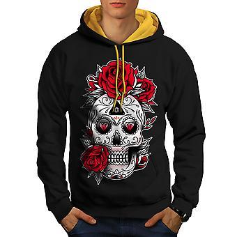 Cute Skull Men Black (Gold Hood)Contrast Hoodie | Wellcoda