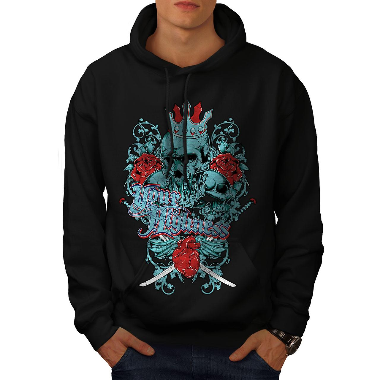 Your Highness King Skull Men Black Hoodie | Wellcoda