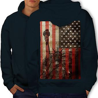 New York Flag Liberty USA Men NavyHoodie Back | Wellcoda