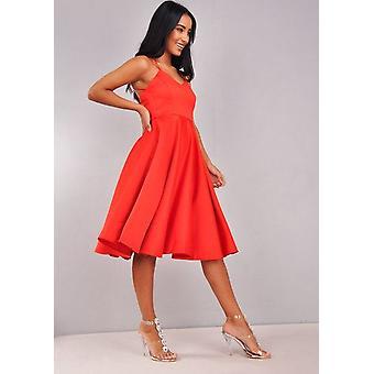 Vestido rojo de Satén con cuello en v tiras Midi
