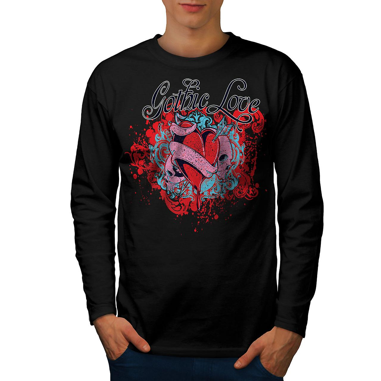 Gothic Love Heart Skull Men BlackLong Sleeve T-shirt | Wellcoda