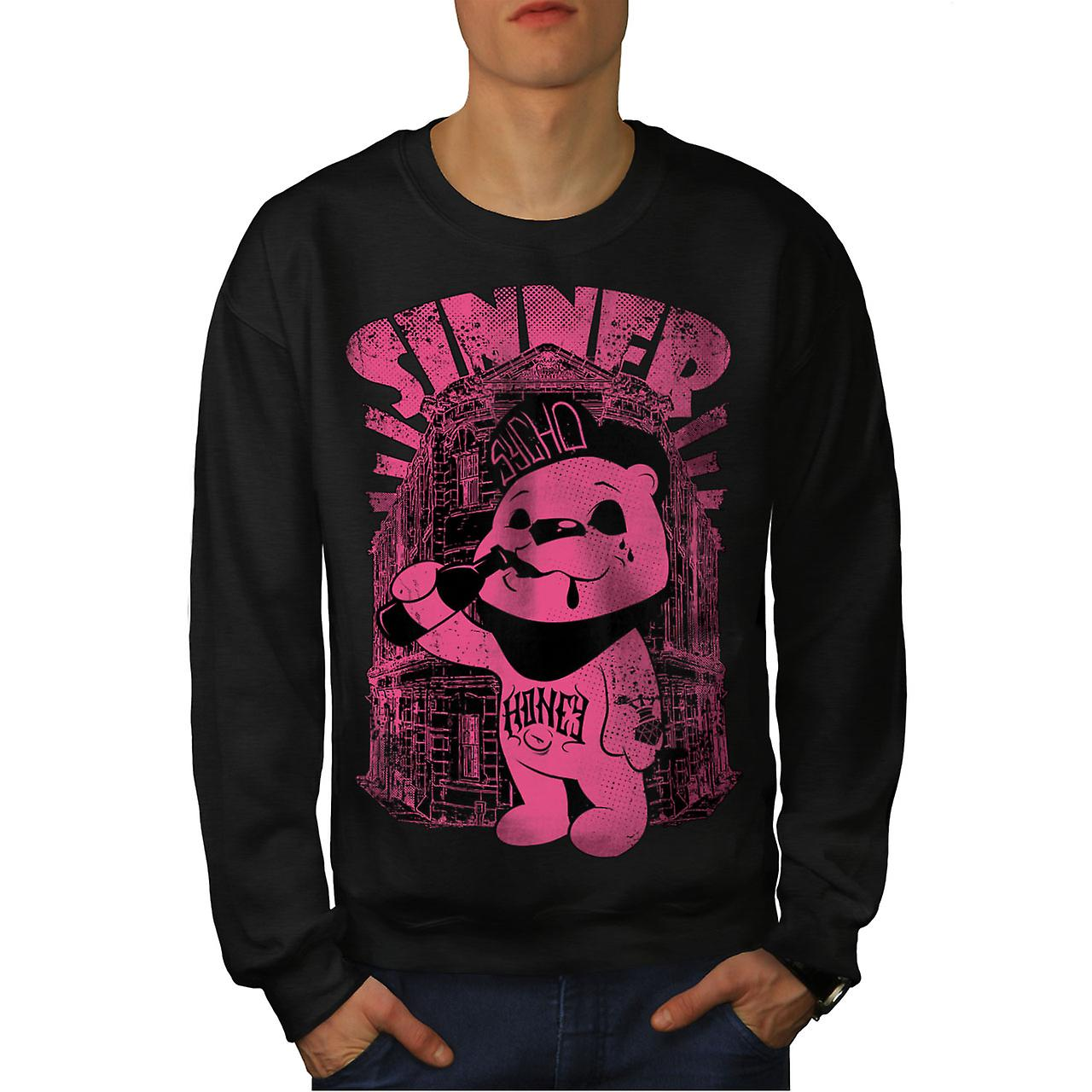 Zondaar teddybeer Ted mannen zwart Sweatshirt | Wellcoda