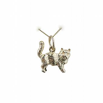 9ct Gold 12x13mm Cat Pendant on a curb Chain 16 inches Only Suitable for Children