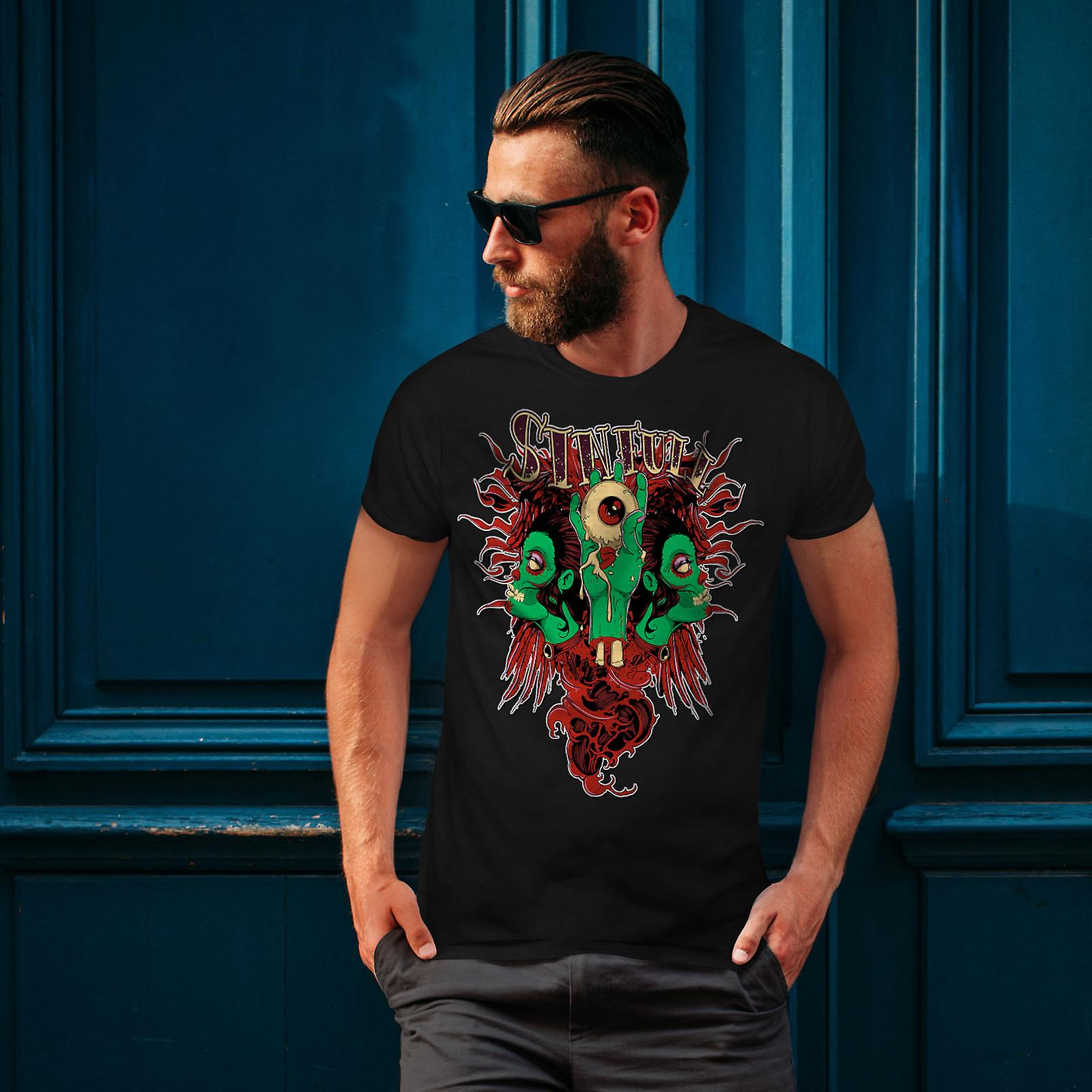 Horror Living Dead Men BlackT-Shirt | Wellcoda