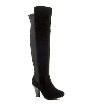 Ajvani dame høj Stiletto heel over knæet strække bred kalv zip ridestøvler