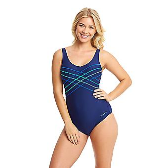 ZOGGS Women's Altona Taped Scoopback Swimsuit in Navy / Blue with Fixed Foam Cups