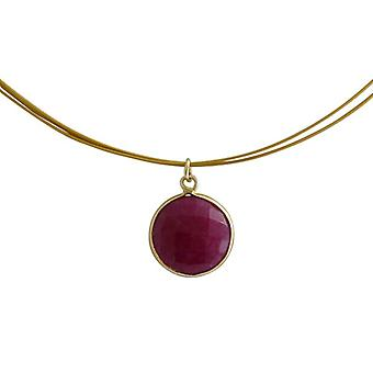 Gemstone necklace chain gemstone Red Ruby necklace gold plated necklace