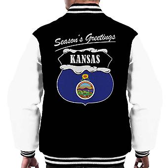Seasons Greetings Kansas State Flag Christmas Men's Varsity Jacket