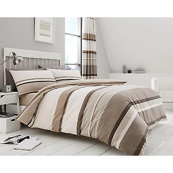 Hudson Stripe 4 Pcs Duvet Cover and fitted sheet Polycotton Stripes Bedding Set