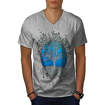 Urban Mirror Tree Men GreyV-Neck T-shirt | Wellcoda