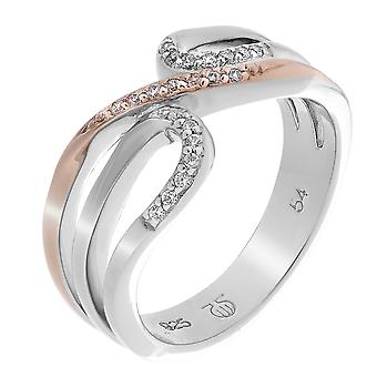 Orphelia Silver 925 Ring ZR-7230 Zirconium Bicoloror Zilver/Rose