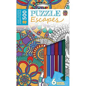 Jigsaw Adult Coloring Puzzle W/Markers 500 Pieces 14