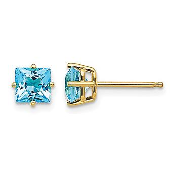 1.40 Carat (ctw) Natural Princess Cut Blue Topaz Stud Earrings in 14K Yellow Gold