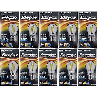10 X Energizer Filament LED Golf Bulb  BC B22 4W = 40W 470Lumen Warm White Bayonet Cap [Energy Class A+]