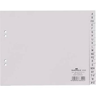 Durable Index 6500 A4 A-Z Polypropylene Grey 20 dividers embossed tabs 650010