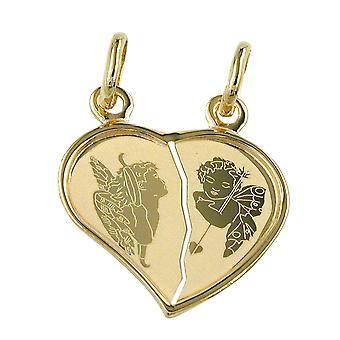 Seguidores socios dividieron corazón oro 585 acoplado del corazón doble Angel 14 KT