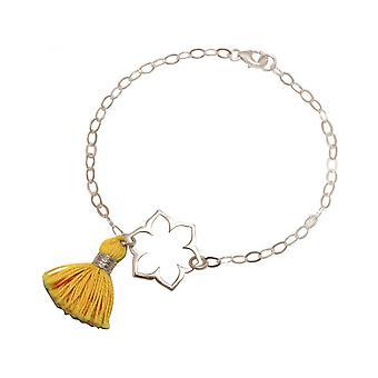 Women - bracelet - 925 Silver - Lotus Flower - mandala - tassel - gold - YOGA