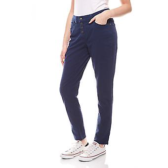 Stretch pants with button placket Summer pants ladies blue abdulgaffar