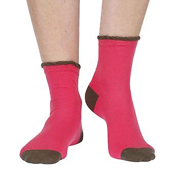 Frilly women's luxury cotton ankle sock in bright pink | By Corgi
