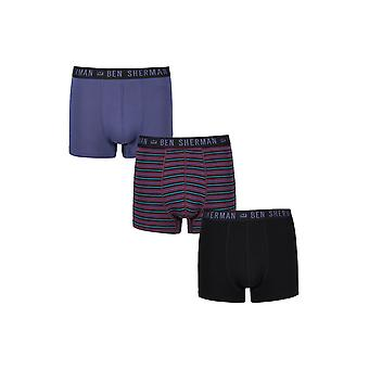 Ben Sherman Underwear Men's 3 Pack Boxer Trunk Shorts Black Blue Willard