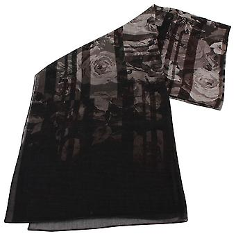 Bassin and Brown Pagoda Floral Wool Scarf  - Black/Grey