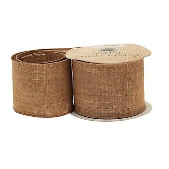 Brown Natural Style Wired Edge Christmas Craft Ribbon - 63mm x 9.1m