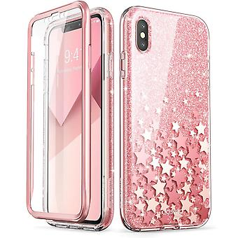 iPhone Xs Case, (Built-in Screen Protector] [Cosmo] Full-Body Glitter Bumper Case 2018 Release (Pink)
