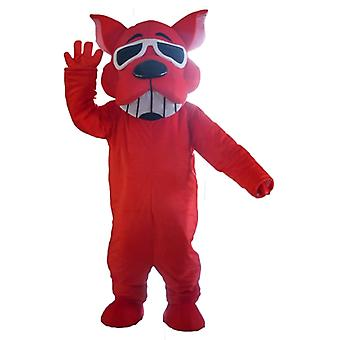 mascot SPOTSOUND dog red, smiling, with sunglasses