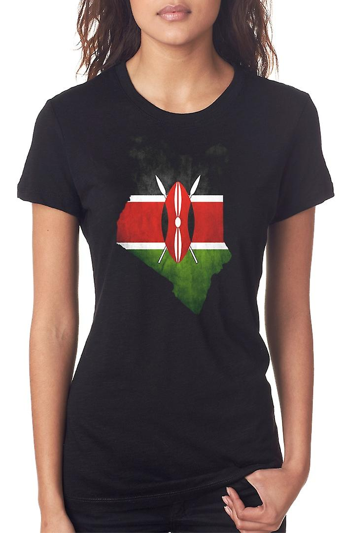 Kenya Kenya Bandiera Mappa Ladies T Shirt