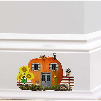 Полноцветный тыквы фея двери стикер стены