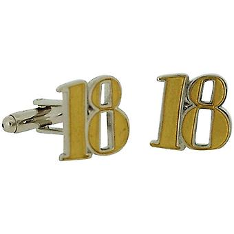 Wendy Jones Blackett Two Tone Diecast ''Happy 18th Birthday'' Cufflinks