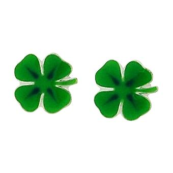 TOC Girls Sterling Silver Green 4 Leaf Clover Stud Earrings