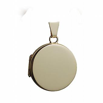 18ct Gold 20mm plain flat round Locket