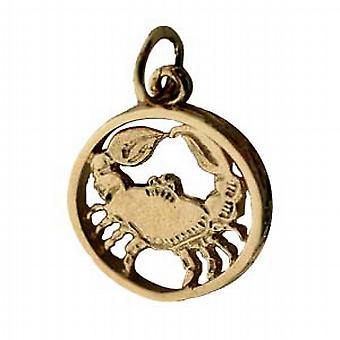 9ct Gold 11mm pierced Cancer Zodiac Pendant