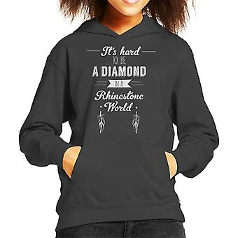 Its Hard To Be A Diamond In A Rhinestone World Dolly Parton Quote Kid's Hooded Sweatshirt