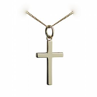18ct Gold 20x12mm plain solid block Cross with a curb Chain 16 inches Only Suitable for Children