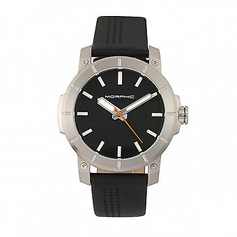 Morphic M54 Series Leather-Band Chronograph Watch - Silver/Black