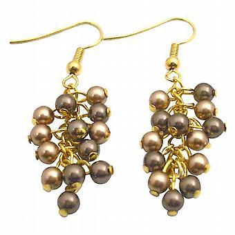 Swarovski Bronze & Brown Pearls Wedding Earrings 22k Gold Plated Hook