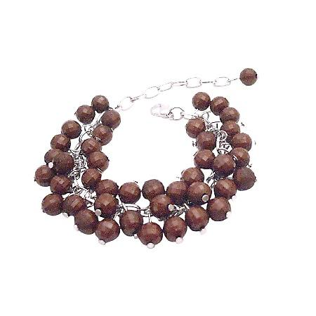 Wedding Bridesmaid Customize Wedding Brown Beads Cluster Bracelet