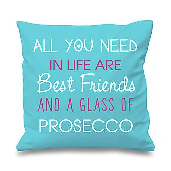 Aqua Cushion Cover All You Need In Life Are Best Friends And A Glass Of Prosecco 16