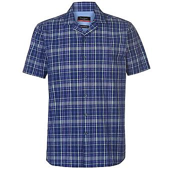 Pierre Cardin Mens Reverse Check Short Sleeve Shirt Casual Tops