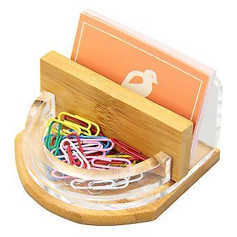 Woodquail Holder bureau Cartes de visite, papeterie Organisateur faite de bambou et acrylique