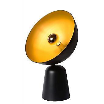 Lucide Vidor Retro-Halbrund Metall schwarz und Gold Tischleuchte