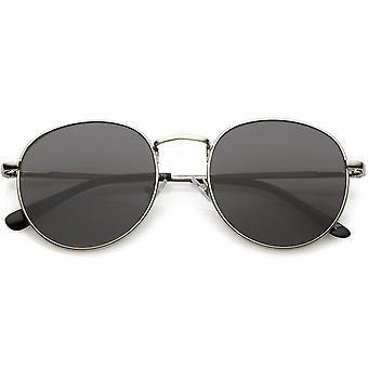 Klassiska metall runda solglasögon med rund platt objektiv 50mm